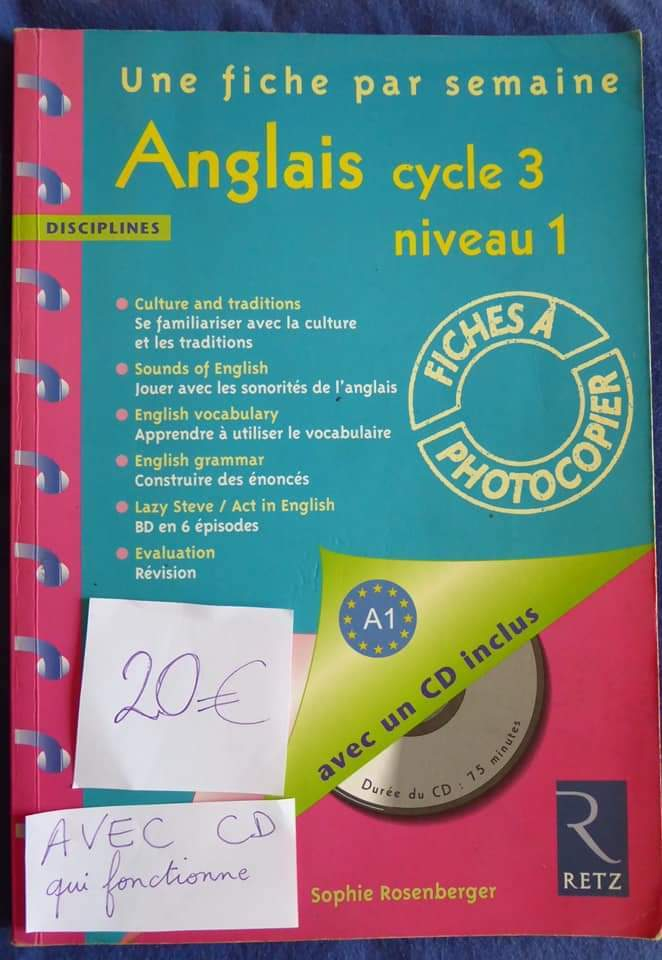 Anglais cycle 3 niveau 1, 36 fiches photocopiables