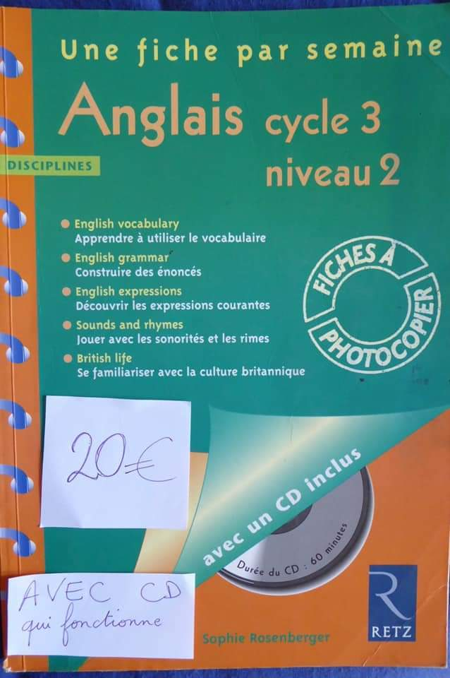 Anglais cycle 3 niveau 2, 36 fiches photocopiables